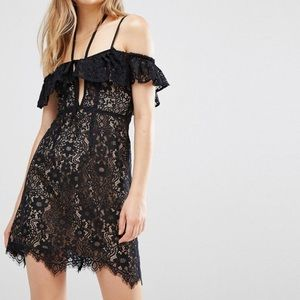 For love and Lemons lace party off shoulder dress